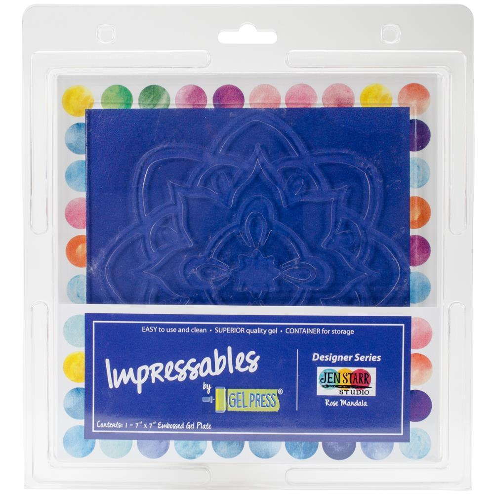 Gel Press Impressables 7 inch X7 inch Embossed Gel Plate By Jen Starr Rose Mandala