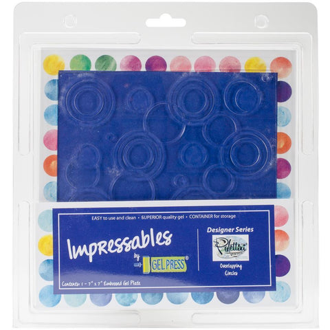 Gel Press Impressables 7 inch x7 inch Embossed Gel Plate By Palettini Overlapping Circles