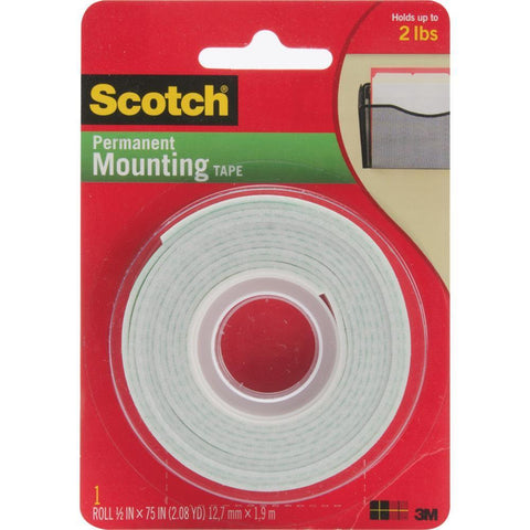 Scotch Foam Mounting Tape .5 inch X75 inch