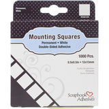 Scrapbook Adhesives Mounting Squares 1000/Pkg Permanent, White, .5X.5
