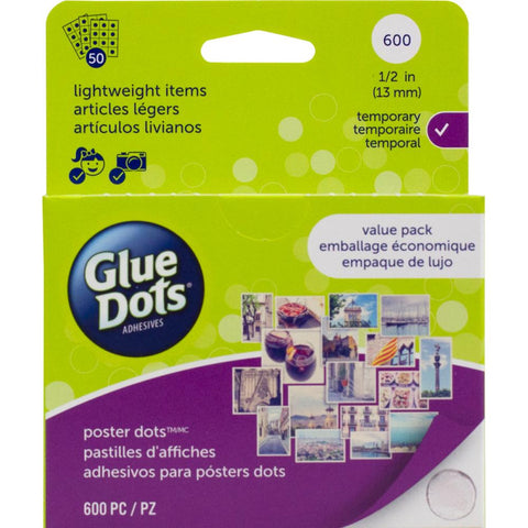 Glue Dots .5 Poster Dot Sheets Value Pack 600 Clear Dots