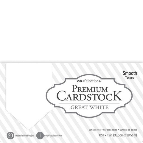 Coredinations Value Pack Smooth Cardstock 12 inch X12 inch 20 pack Great White