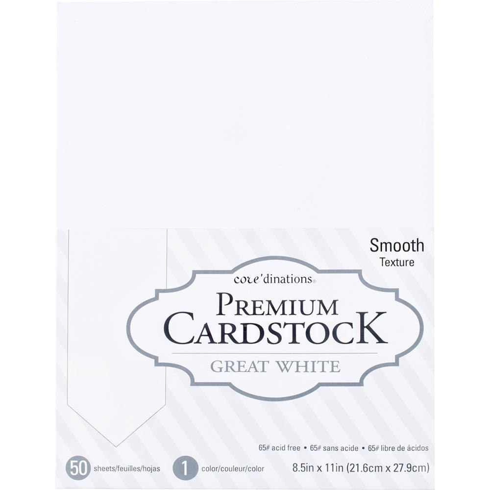 Coredinations Value Pack Smooth Cardstock 8.5 inch X11 inch 50 pack Great White