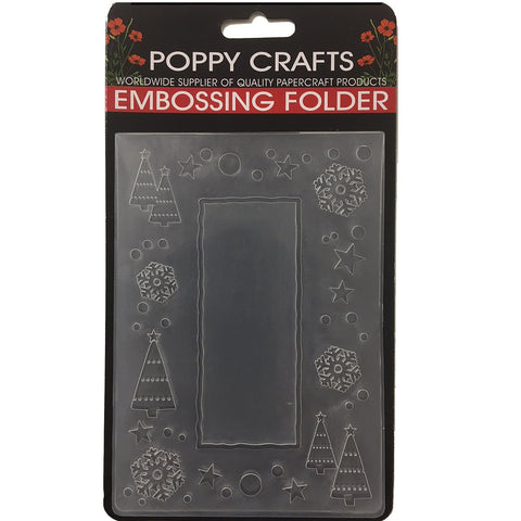 Poppy Crafts Embossing Folder - Christmas theme with frame and christmas motif design