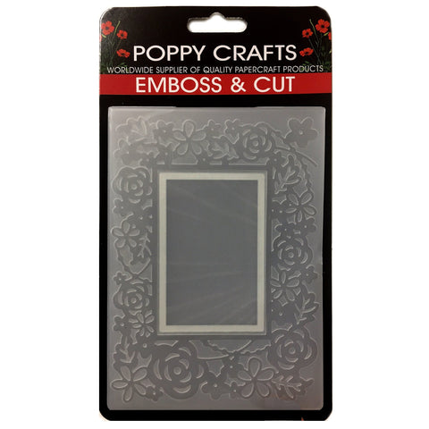 Poppy Crafts Emboss & Cut Embossing Folder - Rectangle frame with floral design