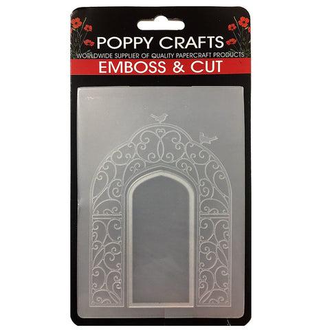 Poppy Crafts Emboss & Cut Embossing Folder - Ornate Window with scroll work and birds design