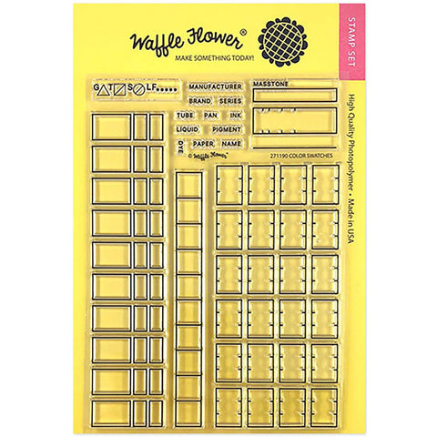 Waffle Flower Crafts Clear Stamp 5 inch X7 inch Color Swatches