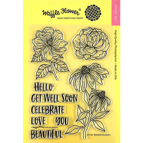 Waffle Flower Crafts Clear Stamp 5X7 Bouquet Builder 2