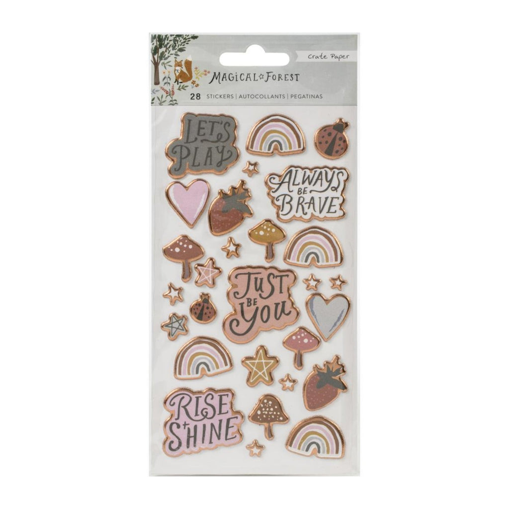 Crate Paper Magical Forest Puffy Stickers 28 pack
