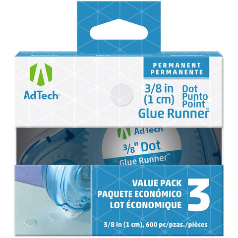 Ad-Tech Permanent Glue Dots 3/Pkg Clear .375