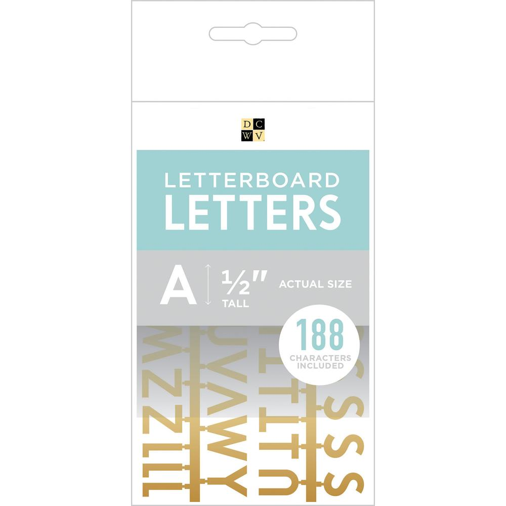 DCWV Letterboard Letters & Characters 1/2 inch 188 pack Gold