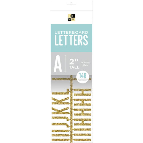 DCWV Letterboard Letters & Characters 2 inch 148 pack Gold Glitter