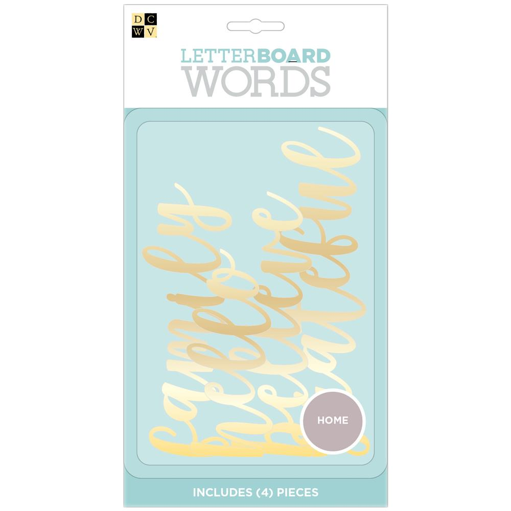 DCWV Letterboard Words 4 pack Home, Gold Foil