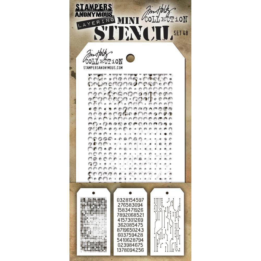 Tim Holtz Mini Layered Stencil Set 3 pack  Set #48