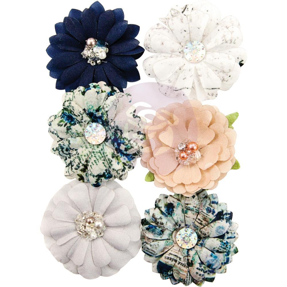 Prima Marketing Georgia Blues Fabric Flowers 6 pack Augusta