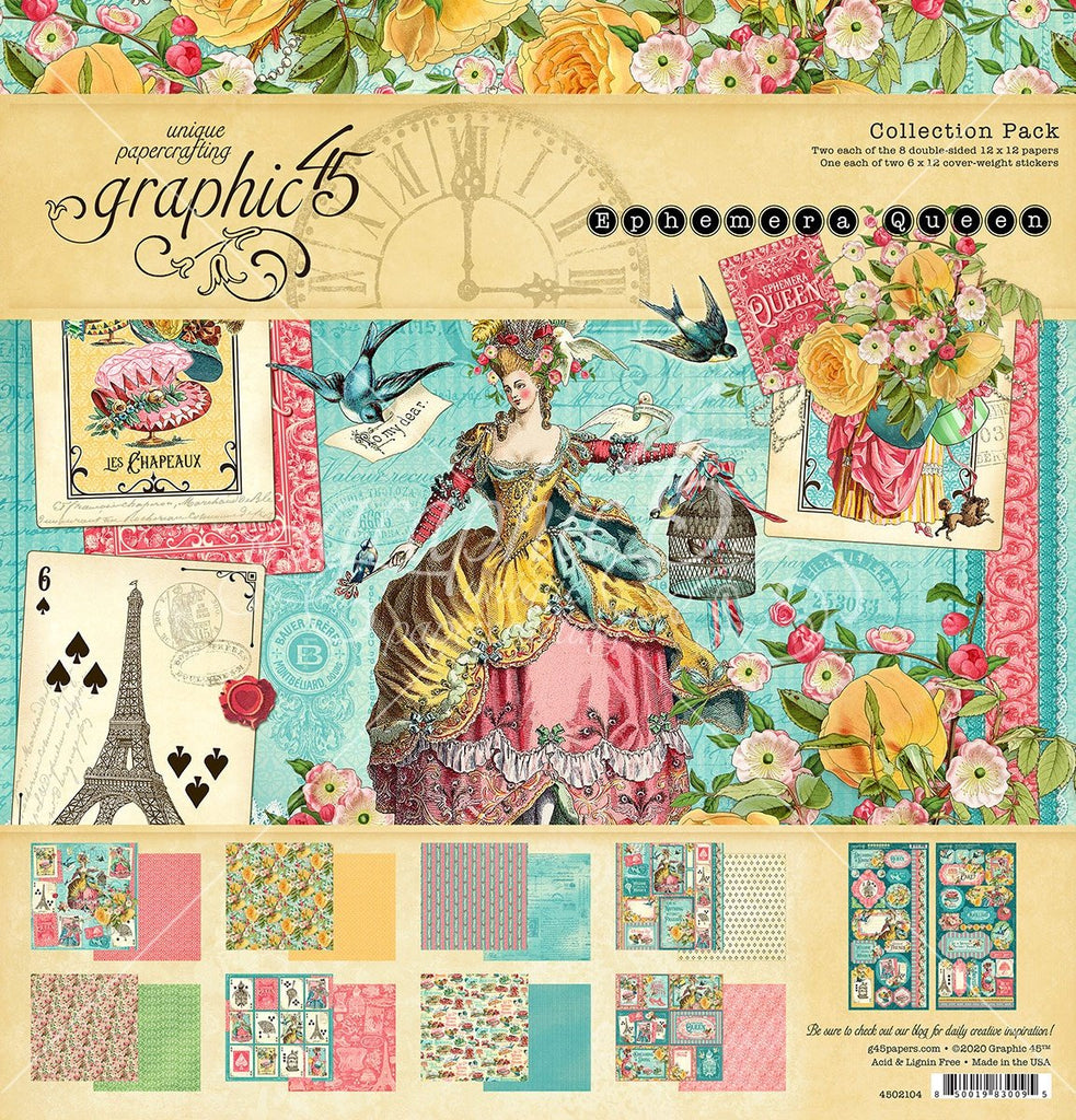 Graphic 45 Collection Pack 12in x 12in - Ephemera Queen