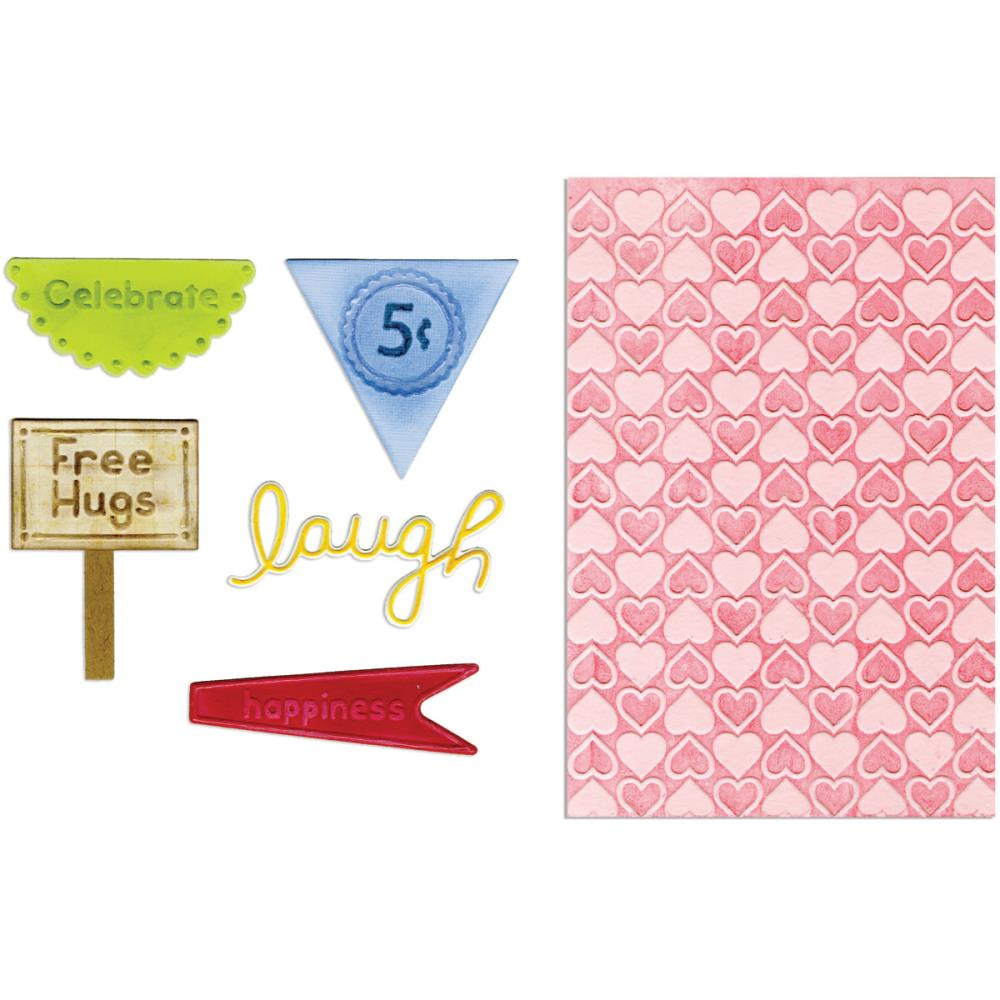 Sizzix Framelits Dies 5 pack with Textured Impressions Folder Happy Hearts
