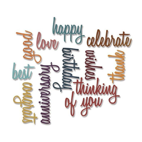 Sizzix Thinlits Dies - Tim Holtz Alterations - Celebration Words: Script