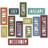 Sizzix Thinlits Dies 12 Pack  By Tim Holtz Block Calendar Words