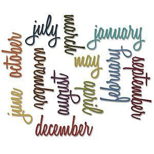 Sizzix Thinlits Dies 12 Pack  By Tim Holtz Script Calendar Words