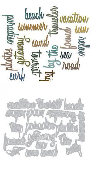 Sizzix Thinlits Dies 18 Pack By Tim Holtz Vacation Words Script