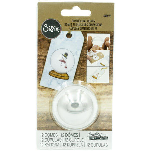Sizzix Dimensional Domes 12/Pkg Inspired By Tim Holtz Clear 1.25 Diameter