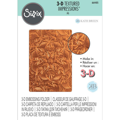 Sizzix - 3-D Textured Impressions Embossing Folder - Floral Mandala by Kath Breen