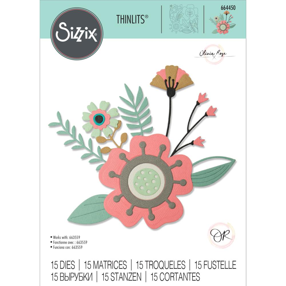 Sizzix - Thinlits Die Set 15 pack - Creative Florals by Olivia Rose