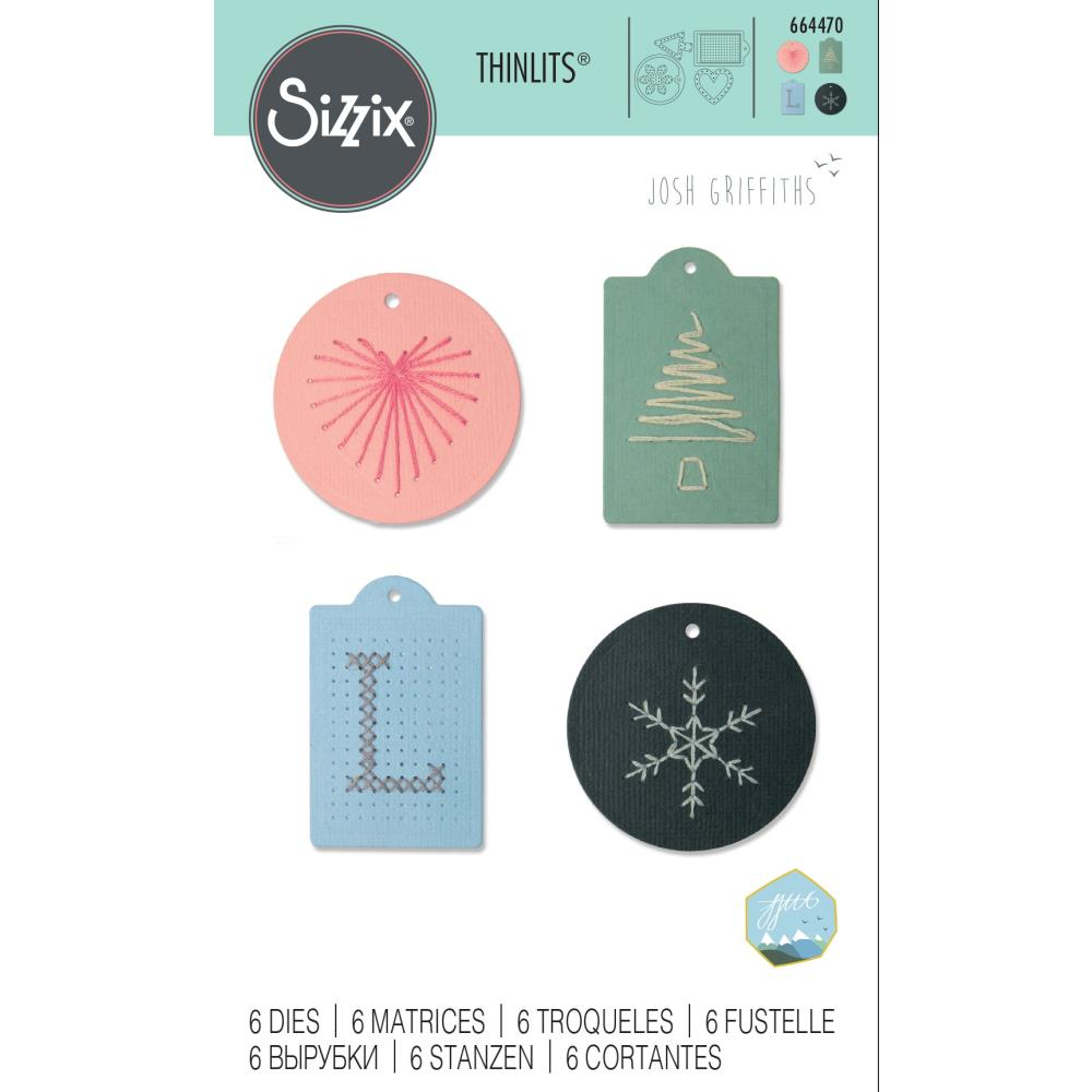 Sizzix - Thinlits Die Set 6 pack - Stitched Tags by Josh Griffiths
