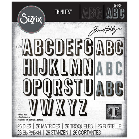 Sizzix - Thinlits Die Set 26 pack - Alphanumeric Shadow Upper by Tim Holtz