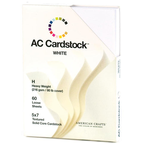 American Crafts Textured Cardstock Pack 5X7 60/Pkg Solid White