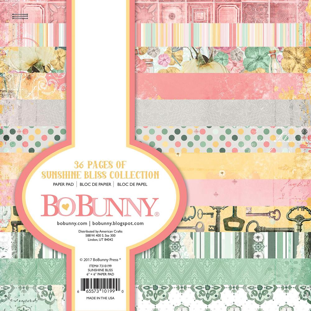BoBunny Single-Sided Paper Pad 6 inch X6 inch 36 pack Sunshine Bliss, 12 Designs/3 Each
