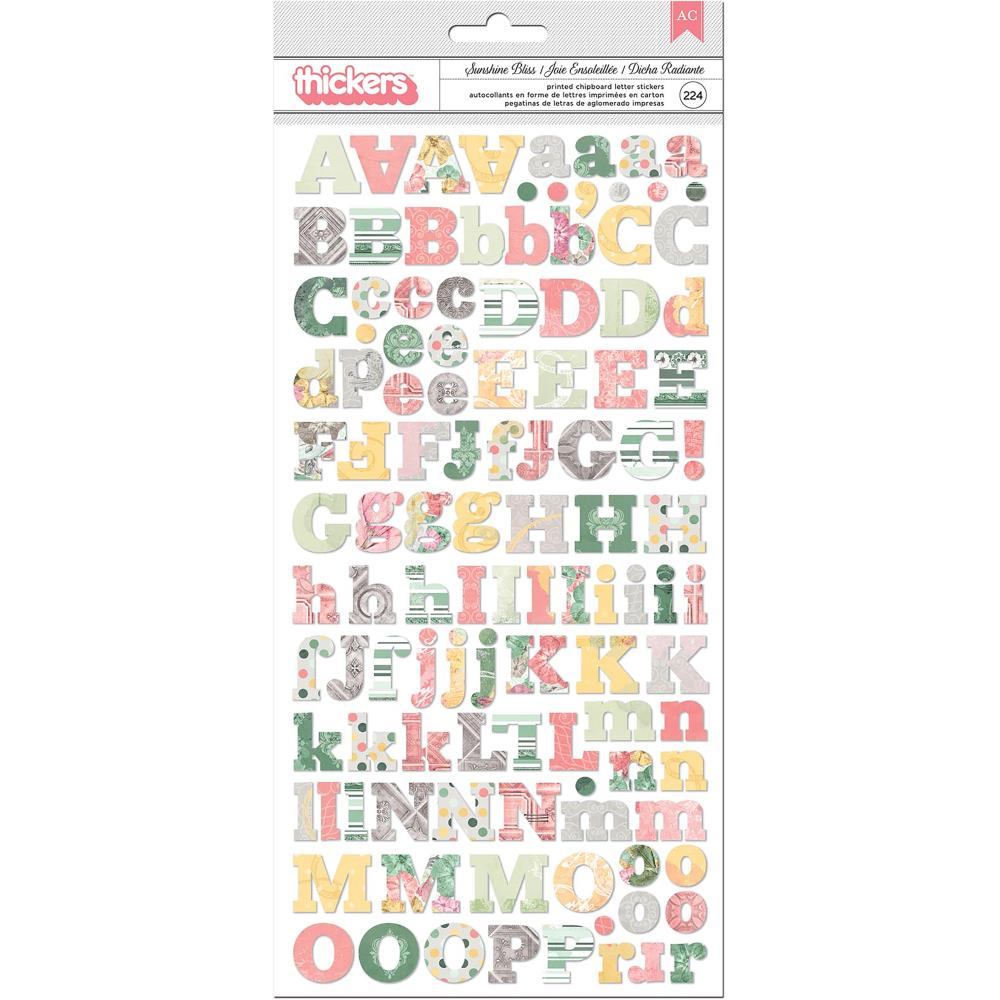 BoBunny Sunshine Bliss Thickers Stickers 5.5 inch X11 inch 2 pack Alphabet/Multi Chipboard