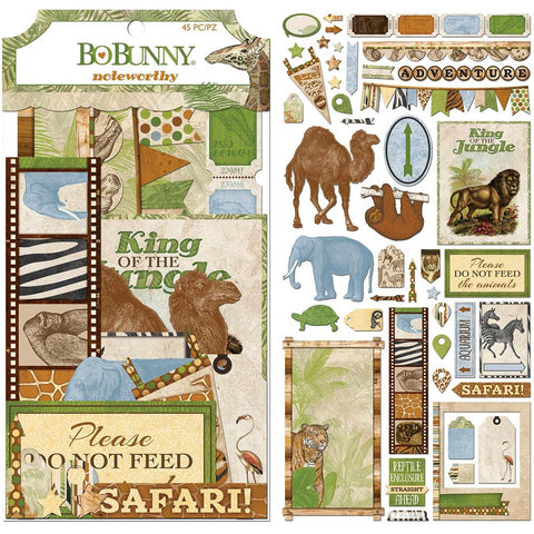 BoBunny Jungle Life Noteworthy Die-Cuts 45/Pkg