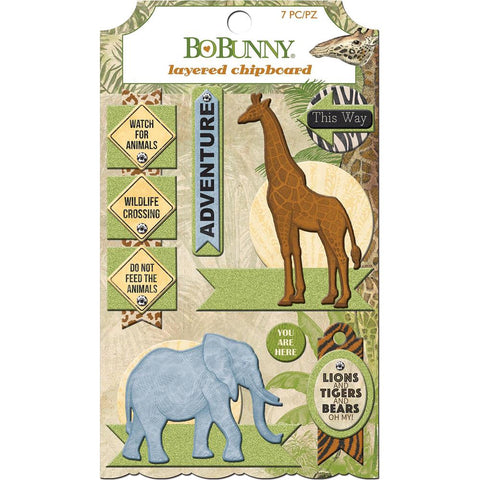 Bo Bunny Jungle Life Adhesive Layered Chipboard