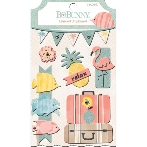 BoBunny Escape To Paradise Adhesive Layered Chipboard