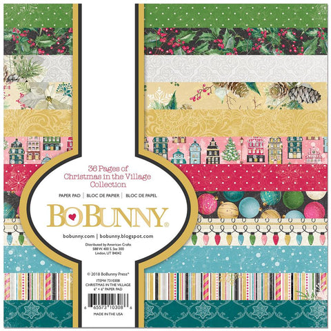 BoBunny Single-Sided Paper Pad 6X6 36/Pkg Christmas In The Village, 12 Designs/3ea