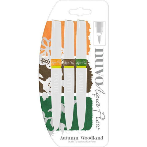 Nuvo Aqua Flow Brush Tip Watercolour Pens - Autumn Woodland (3 Pk)