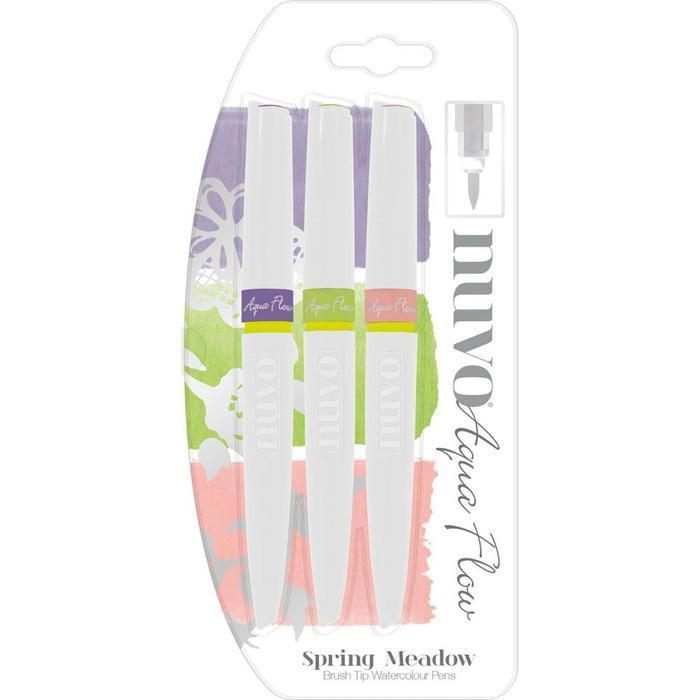 Nuvo Aqua Flow Brush Tip Watercolour Pens - Spring Meadow (3 Pk)