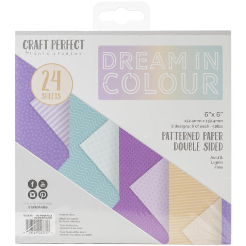 Tonic Studios - Craft Perfect - Luxury Embossed Card 6x6 - Dream in Colour (24 Sheets)
