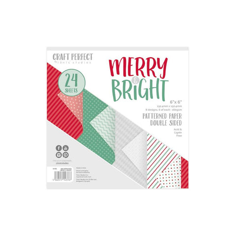 Tonic Studios - Craft Perfect - Luxury Embossed Card - Merry & Bright - 6x6inches Paper Pack