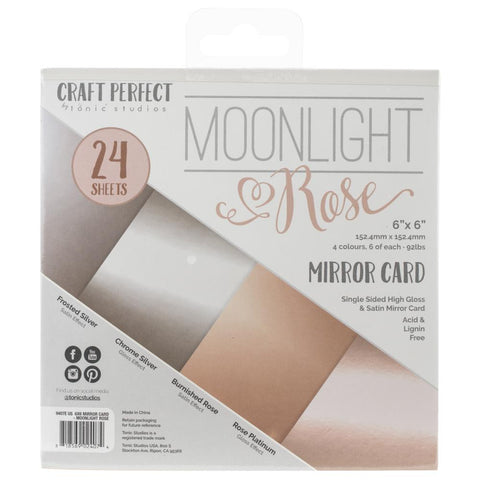 Tonic Studios Craft Perfect Mirror Card Pack 6x6 - Moonlight Rose (24 Sheets)