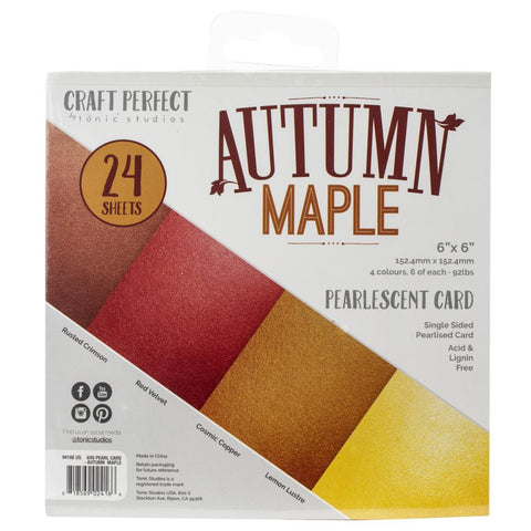 Tonic Studios Craft Perfect Pearlescent Card Pack 6x6 - Autumn Maple (24 Sheets)