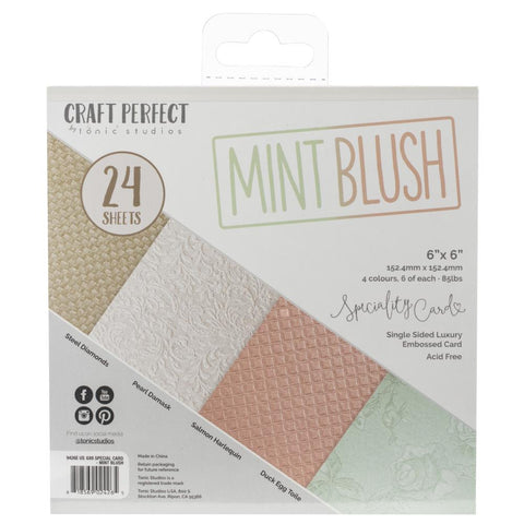 Tonic Studios Craft Perfect Luxury Embossed Card Pack 6x6 - Mint Blush (24 Sheets)