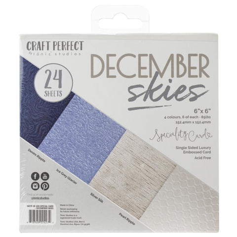 Tonic Studios Craft Perfect Luxury Embossed Card Pack 6x6 - December Skies (24 sheets)