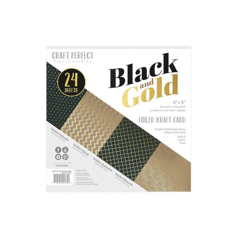 Tonic Studios - Craft Perfect Luxury Embossed Card Pack 6x6 - Black & Gold (24 Sheets)