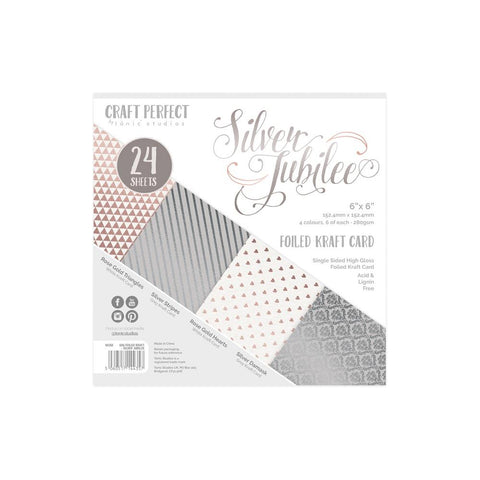 Tonic Studios - Craft Perfect Luxury Embossed Card Pack 6x6 - Silver Jubilee (24 Sheets)