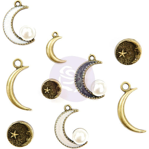 Prima Marketing Metal Trinkets - Moon Child, Crescent 9 pack