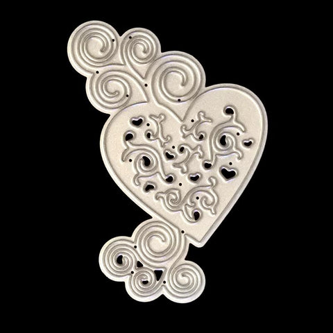 Poppy Crafts Dies - Stunning Heart Flower Die Design with Swirles