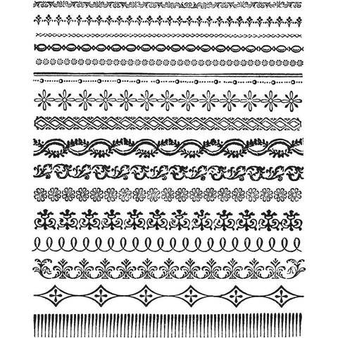 Tim Holtz Cling Stamps 7 inch X8.5 inch  Ornate Trims